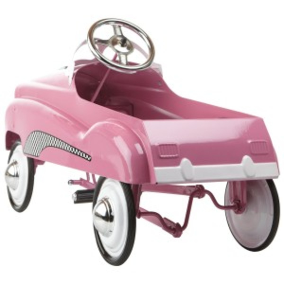 back of pink pedal car