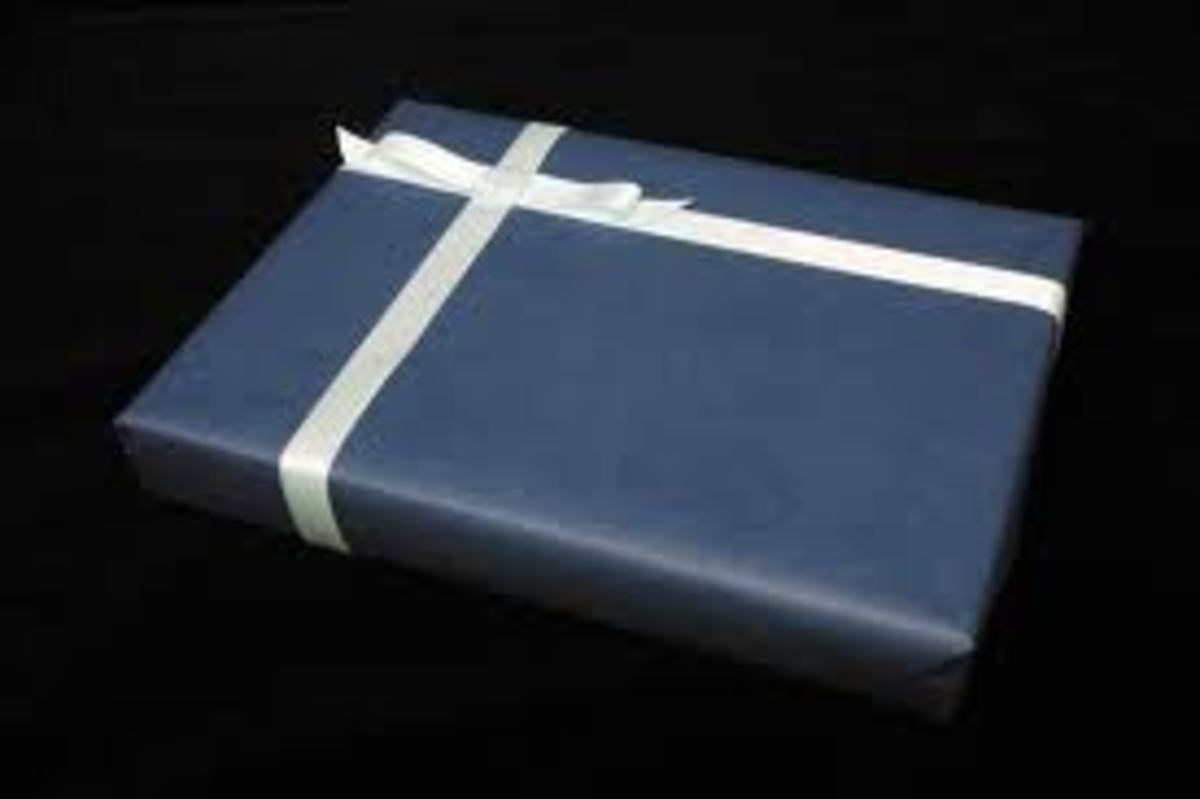 A book gift wrapped.