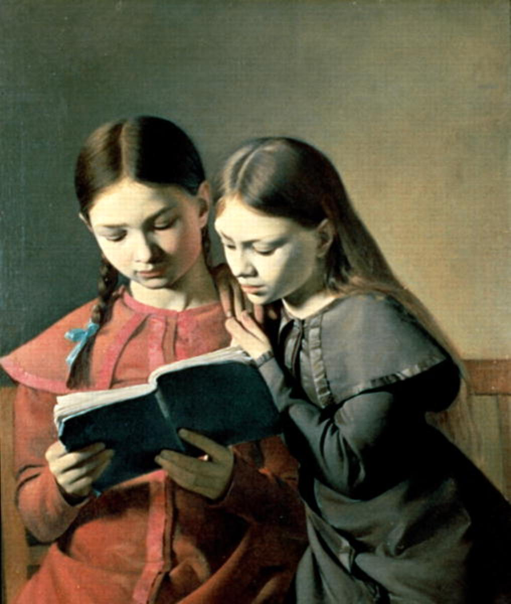 """The Artist's Sisters Signe and Henriette Reading A Book 1826"" by Carl Christian Constatin Hansen"