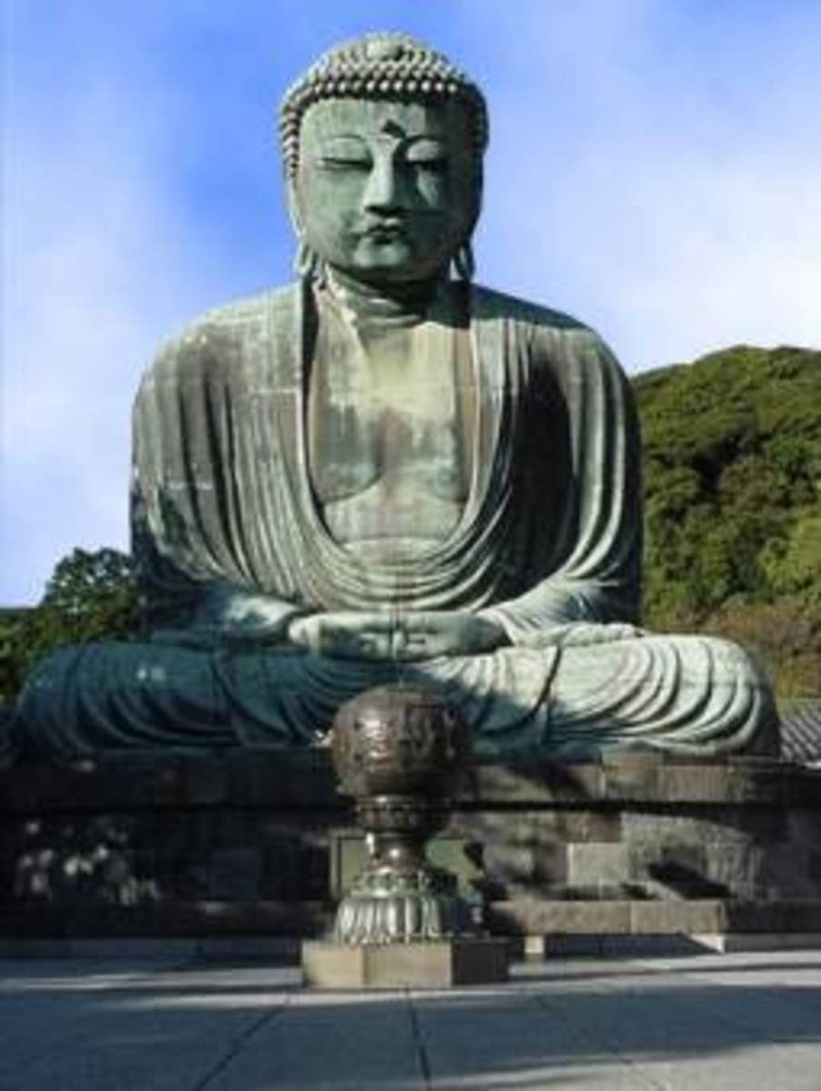 This is the Amida Daibutsu in Kamakura, Japan.