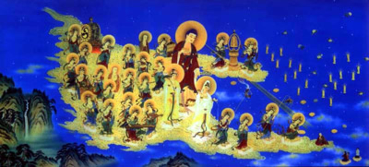 Amida Nyorai with his fleet of bodhisattvas.