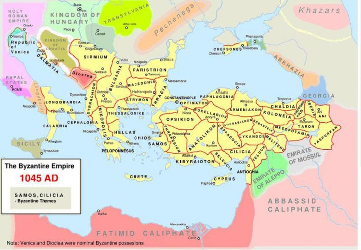 The Byzantine Empire at the time of Zoe, when Harald Sigurdsson captained the Varangian Guard - see Sturlusson: 'King Harald's Saga'