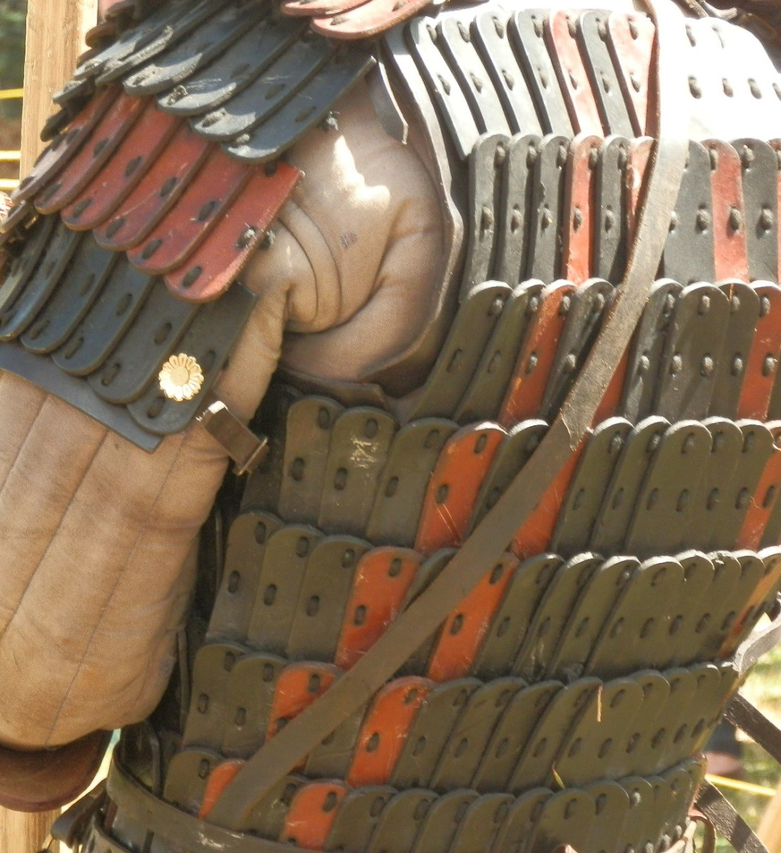 Close-up of leather plate armour - as effective if not more than iron ring mail