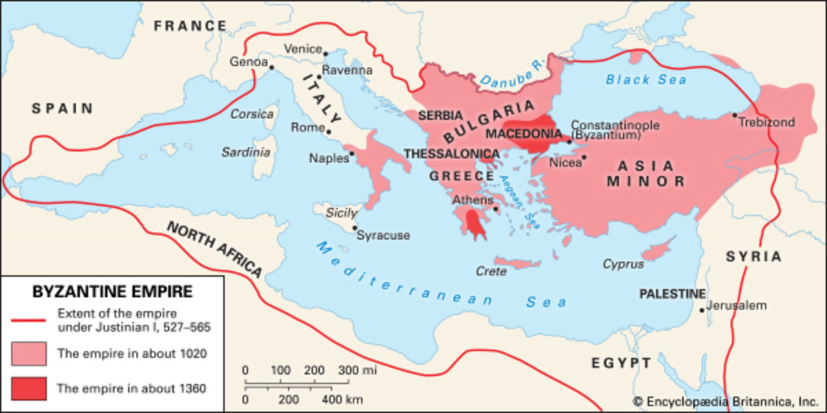 The extent of the empire between Justinian and the 14th Century. Another century or so would elapse before the empire could not strike back. In 1453 Constantinople could become Istanbul and its emperor would be exiled