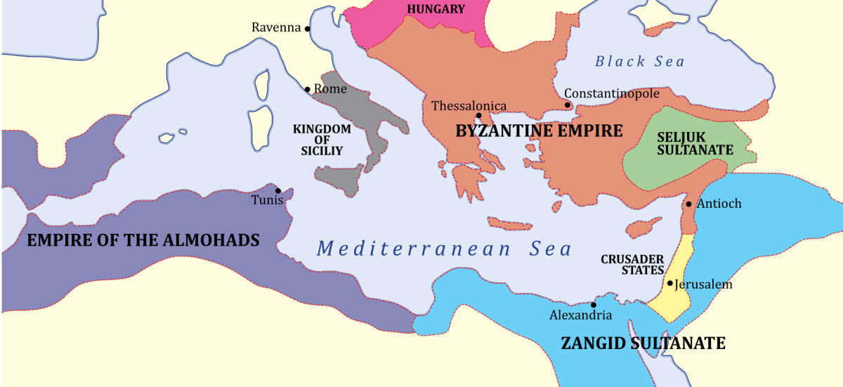 The empire around 1180 - the time of the Crusades when Rome 'permitted' crusaders to ransack Constantinople on their way to the Holy Land