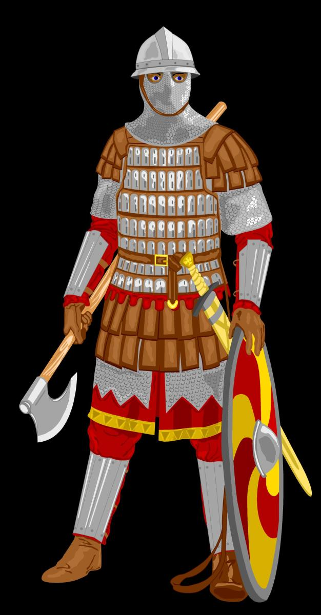 A recreated Varangian guardsman in heavy battle armour - their primary task was to ensure their paymaster's safety