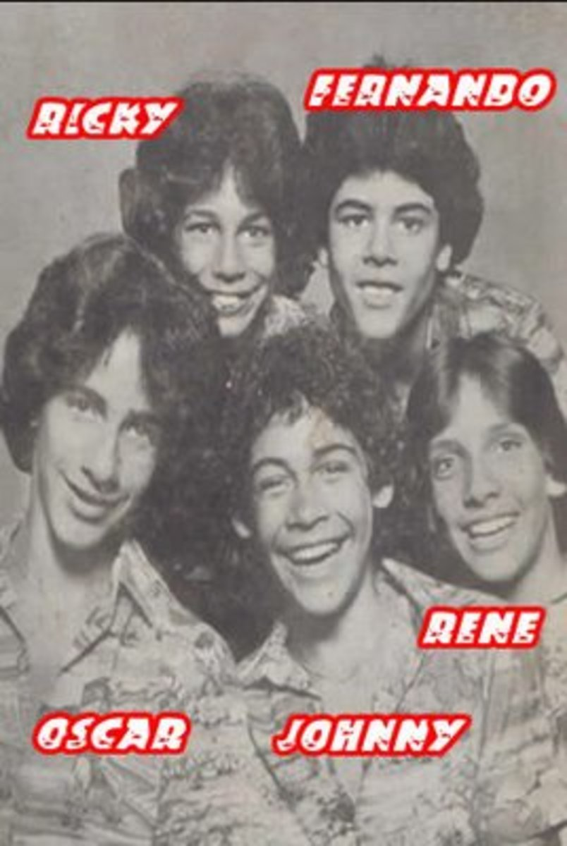 Menudo's 1980 new lineup of members with new member Johnny Lozada.