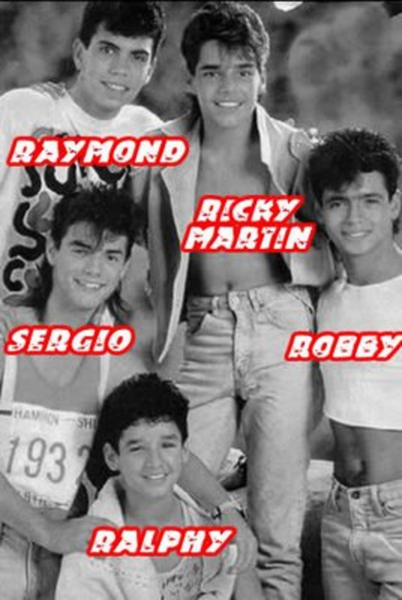 Menudo's 1986 first lineup with Sergio Rodriguez and Ralphy as their newest member.