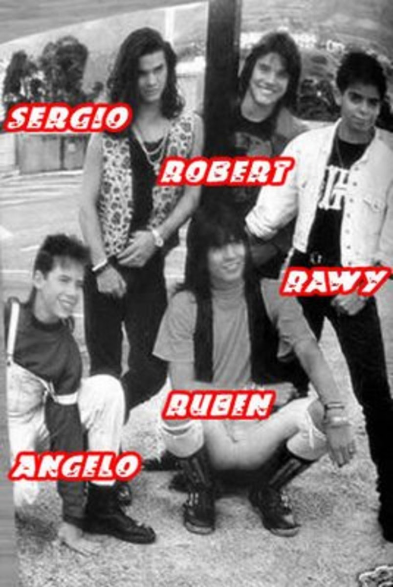 Menudo's first 1989 lineup with Rawy as their new member.