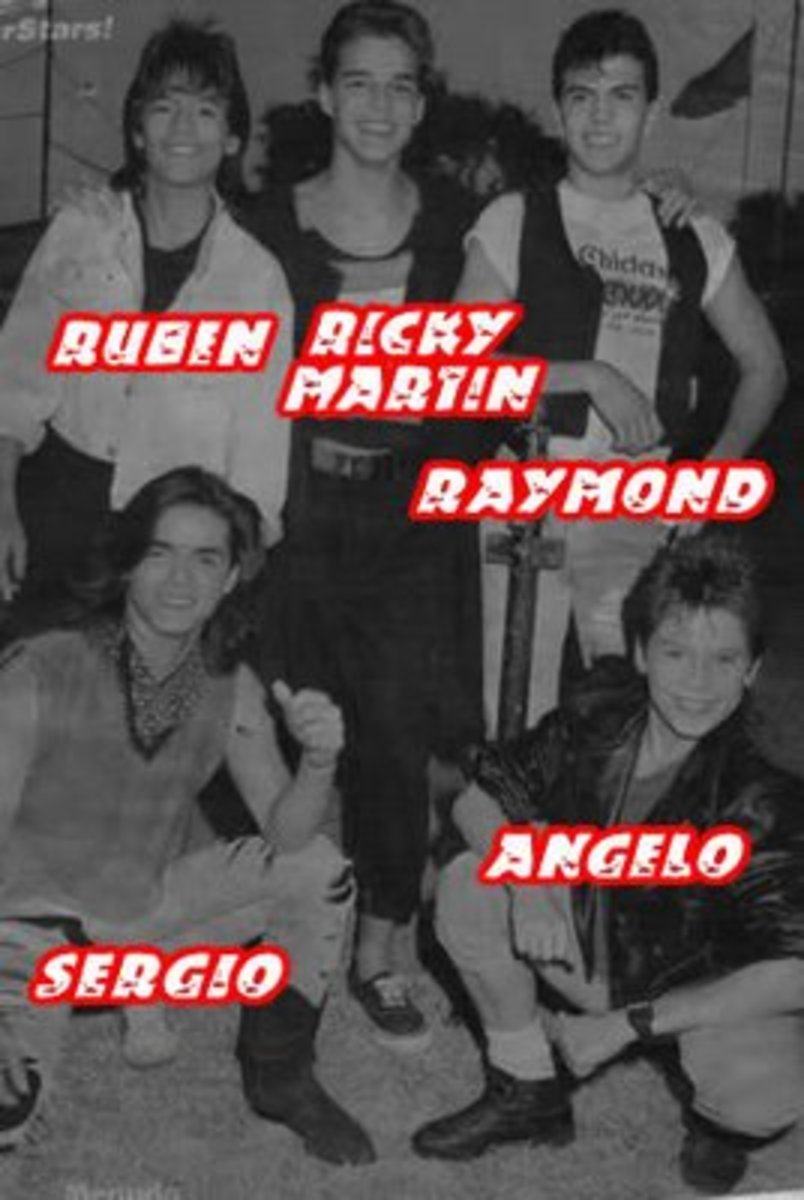 Menudo 1987 lineup with their new member Angelo.