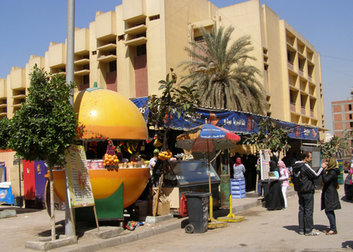 Fruit juice stand in Egypt