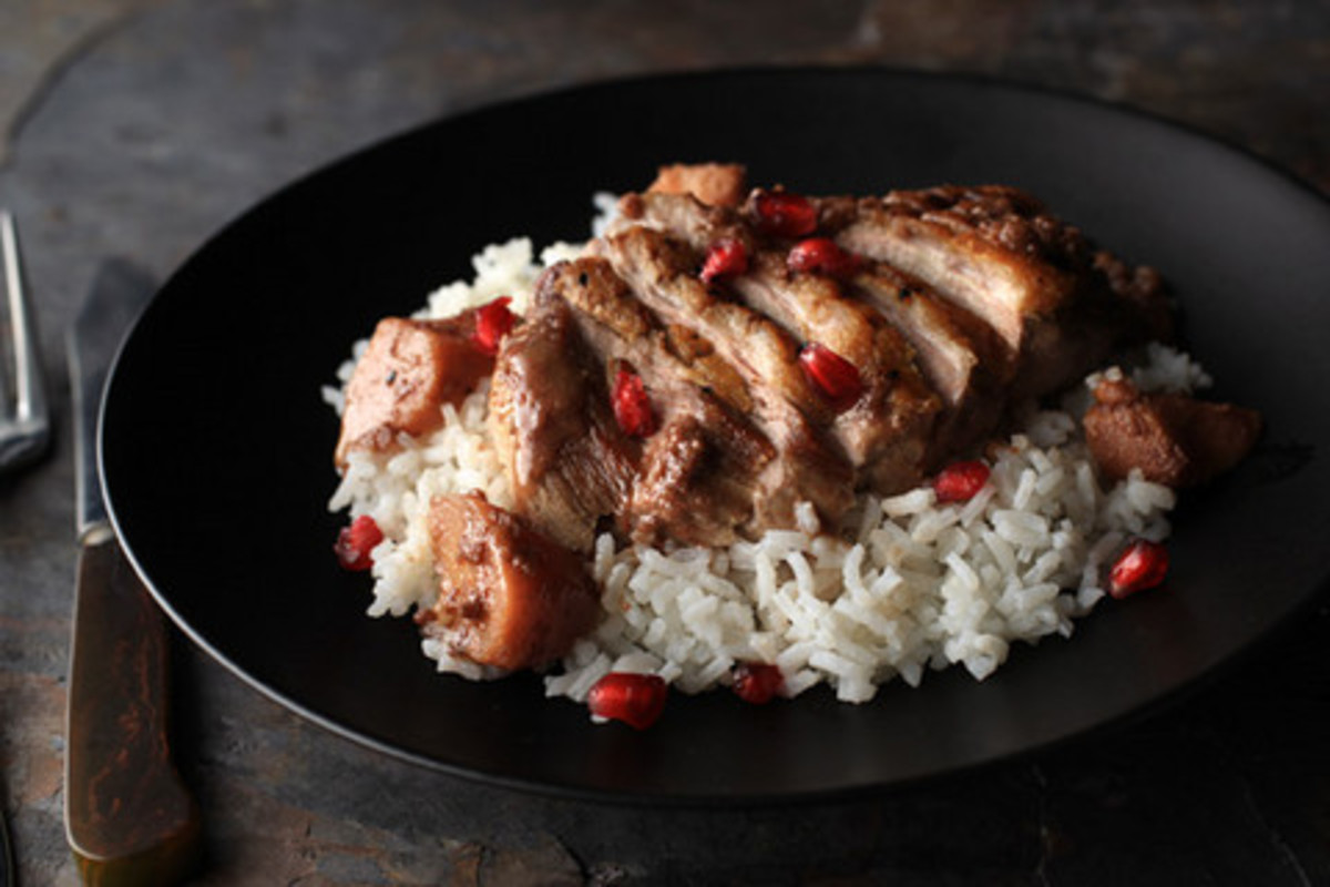 Egyptian duck with pomegranates and rice