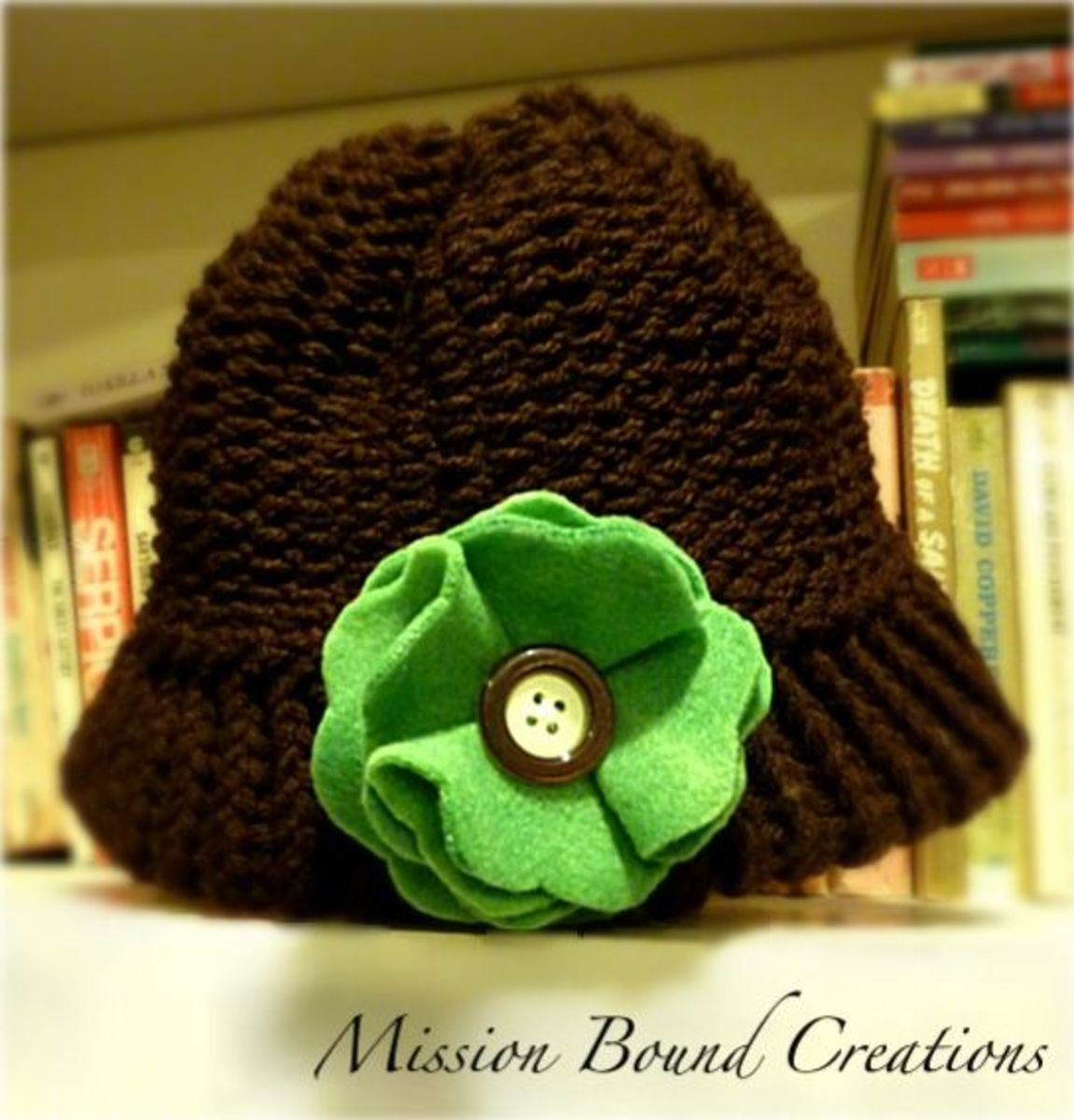 Knifty Knitter Hat with Felt Flower