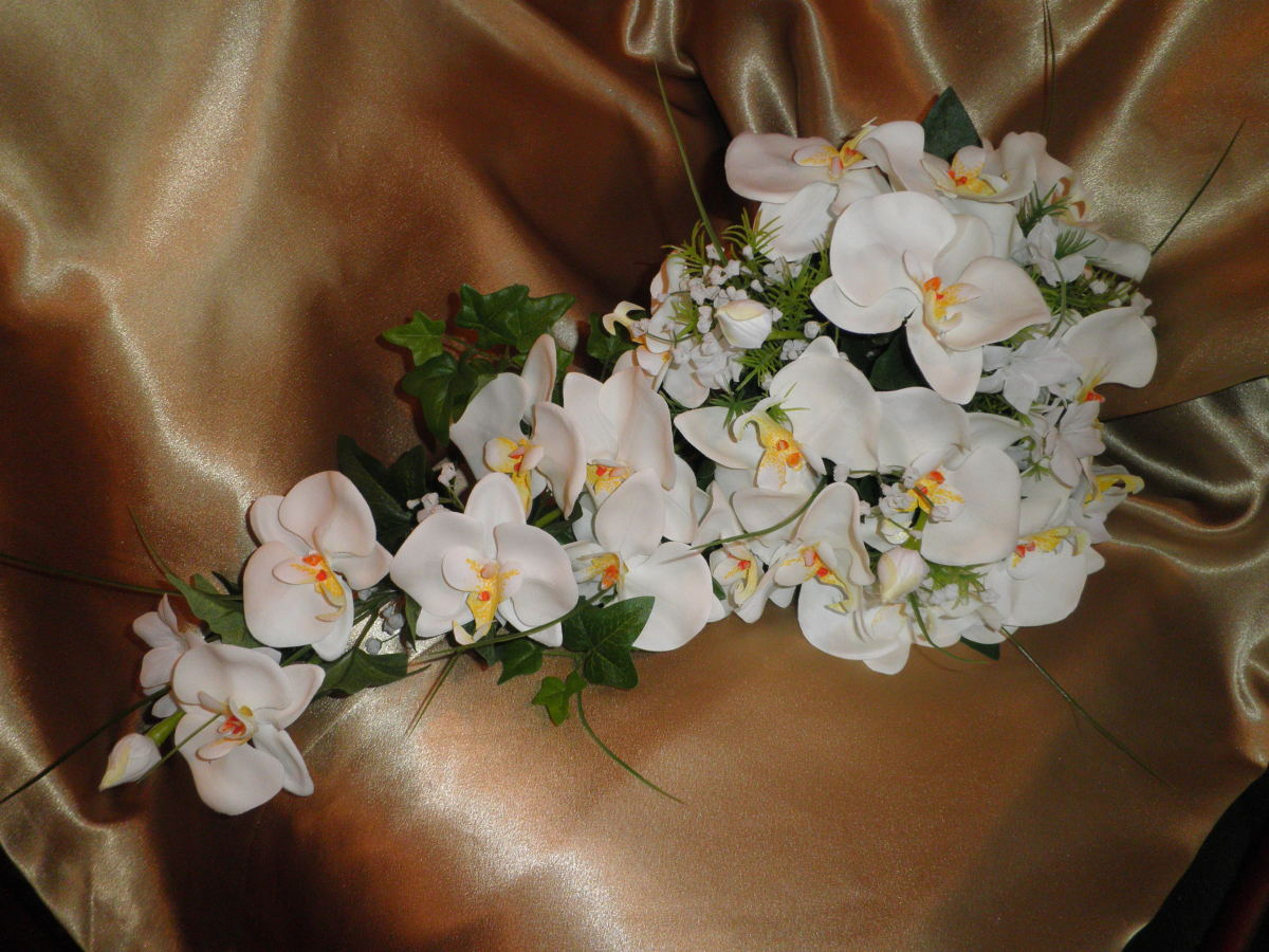 This is the actual orchid flower bouquet that Rose purchased for her wedding. It was quite lovely and also very realistic.