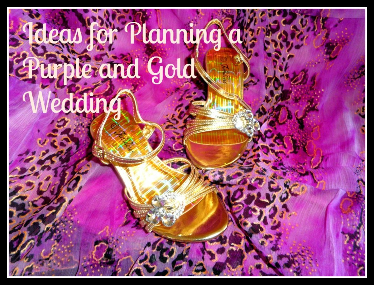Ideas, tips, flowers, themes and colors for planning a wedding in purple and gold.