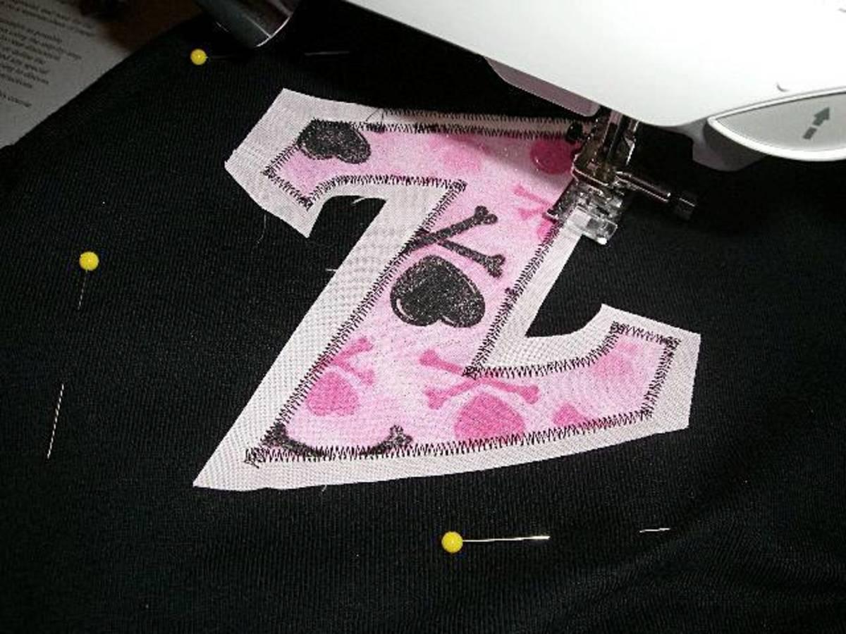 Applique stitch around letters