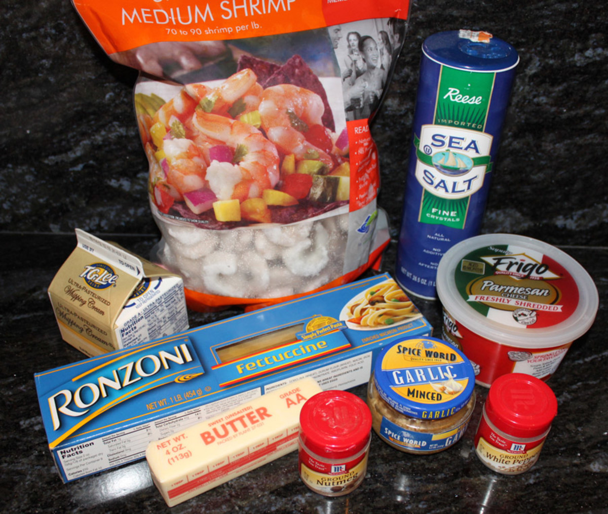 All the ingredients for a great dish of Shrimp Fettuccine Alfredo