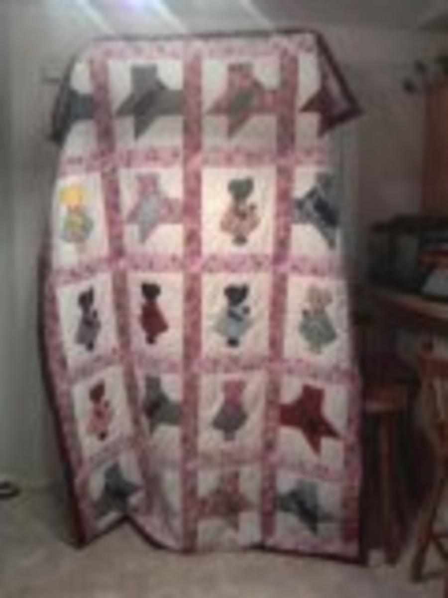 My grandaughter's sunbonnet sue butterfly quilt.  We made this one together when she was 10.  It was awesome!
