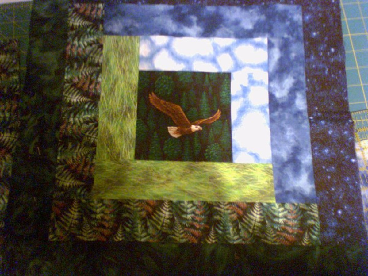 Here is a block from the eagle log cabin quilt I  made for my son as he is an eagle collector