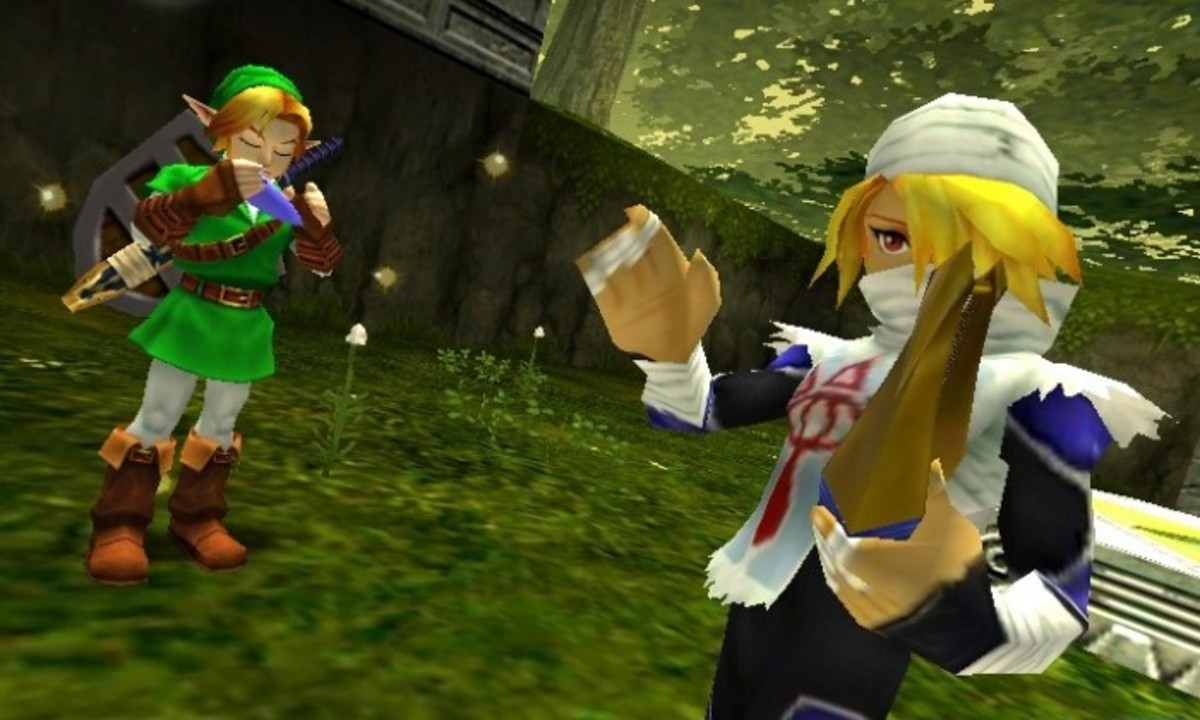 Link playing the Ocarina of Time and Sheik playing the Goddess's Harp