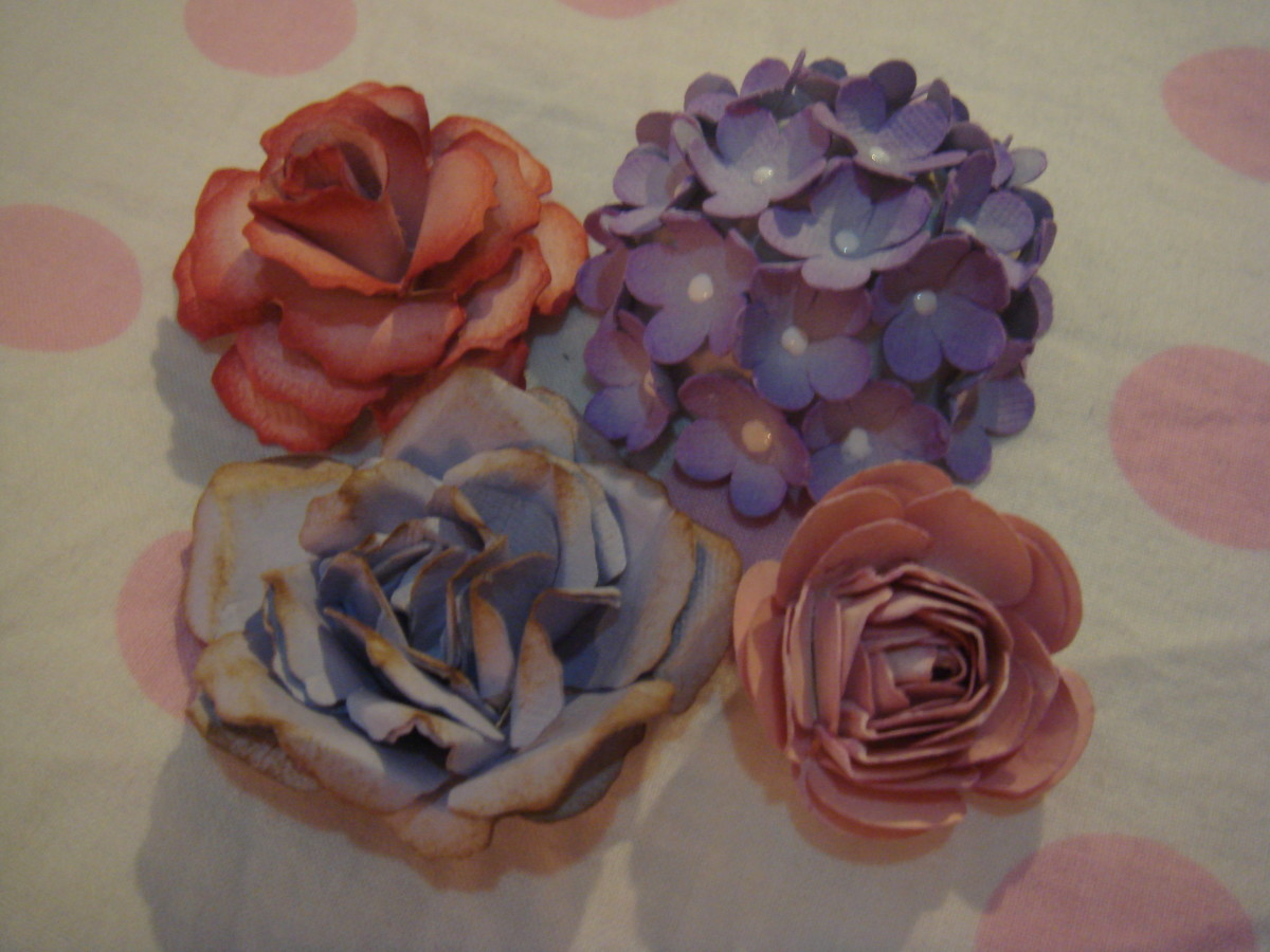 Clockwise from top left: Classic rose-1, hydrangeas, cabbage rose and classic rose-2.