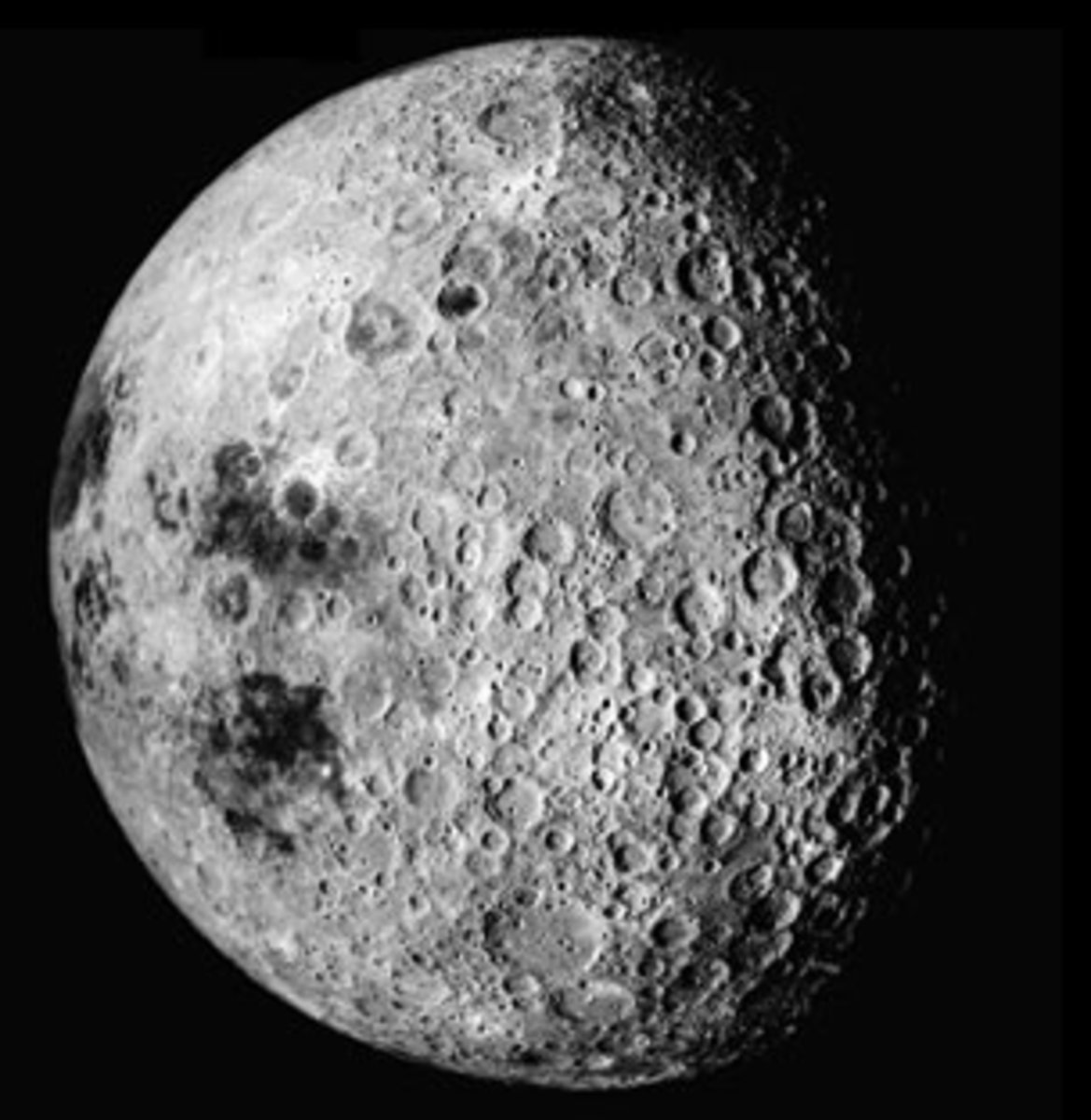 Notice how the left half of the moon in this image is perfectly semi-circular whereas the right half looks oddly shaped as though it has been airbrushed.