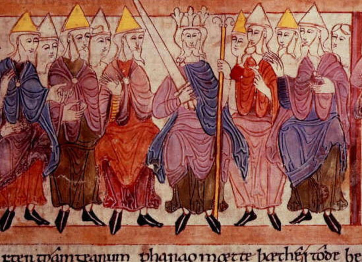 King at the centre, his bishops and lay advisers on either side - this was the meeting of counsellors, the Witanegemot that decided issues too complex for a shire court. They also advised the king on a course of action in the event of rebellion...