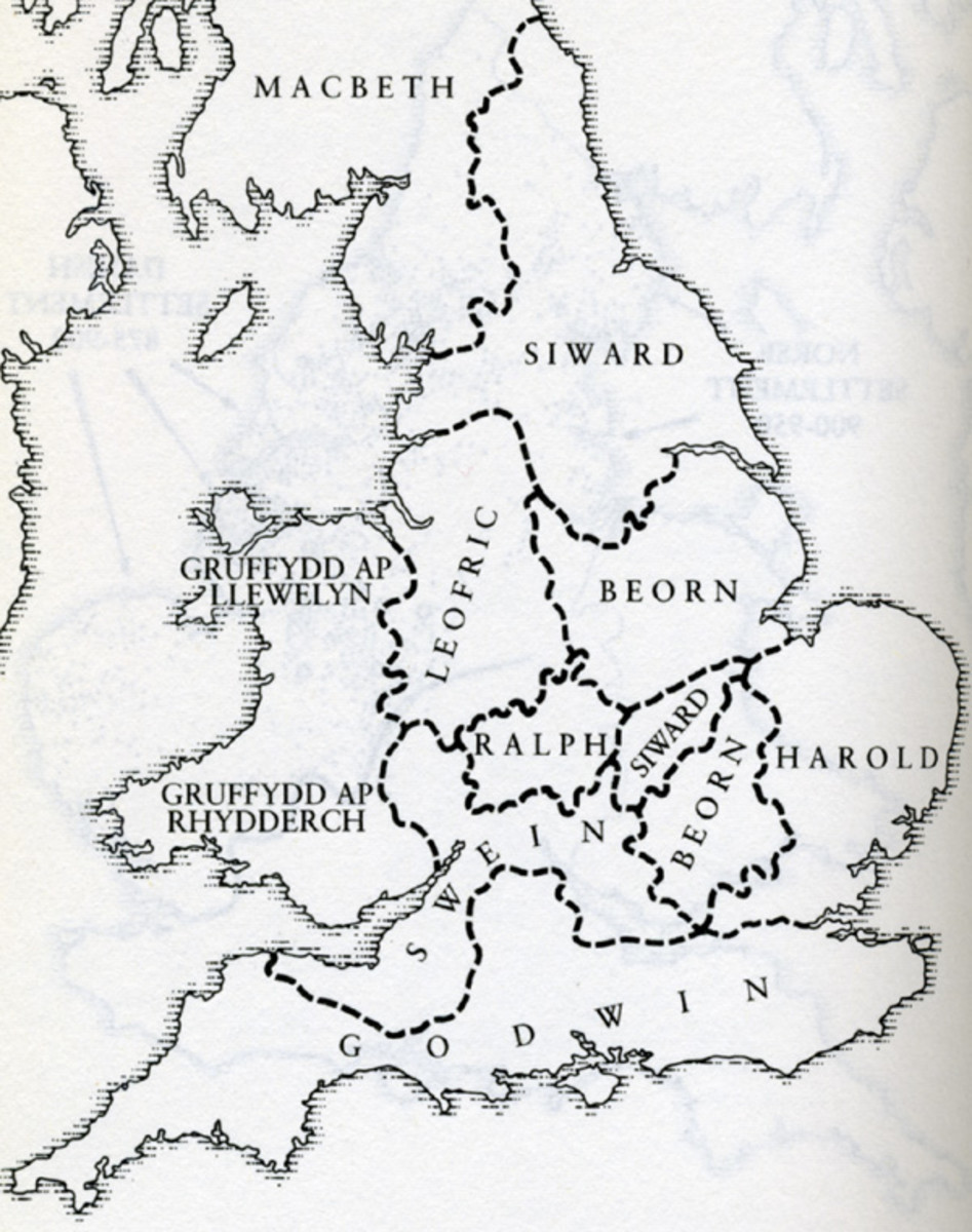 English earldoms AD 1045. Feeling Godwin was getting above himself, earls Leofric of Mercia and Siward of Northumbria sided with Eadward against him. There was also the old rivalry between Mercia and Wessex that dated back to Penda's time (7th Cent)