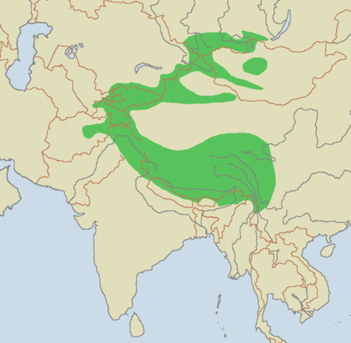 Map showing regions inhabited by the endangered snow leopard.