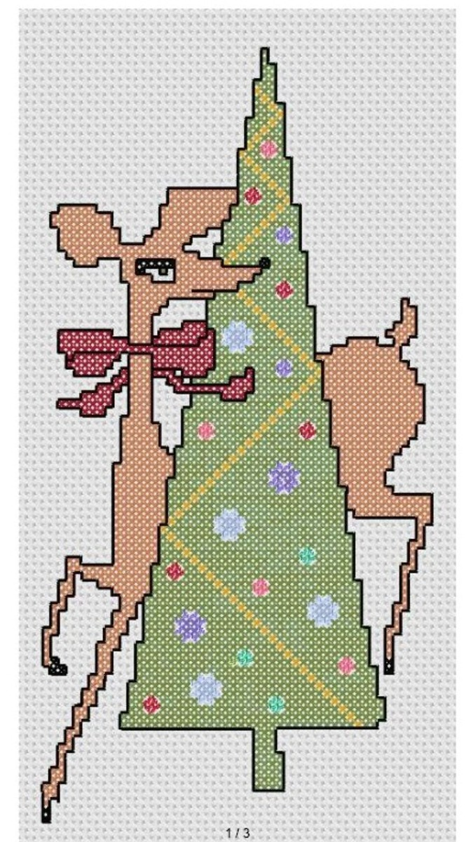 free cross stitch pattern reindeer and Christmas tree