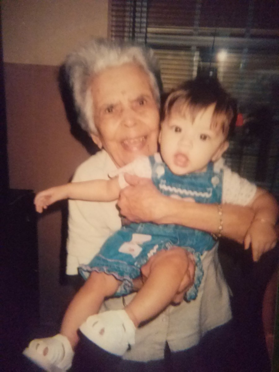 My late Mother in law with her great granddaughter Kathy.