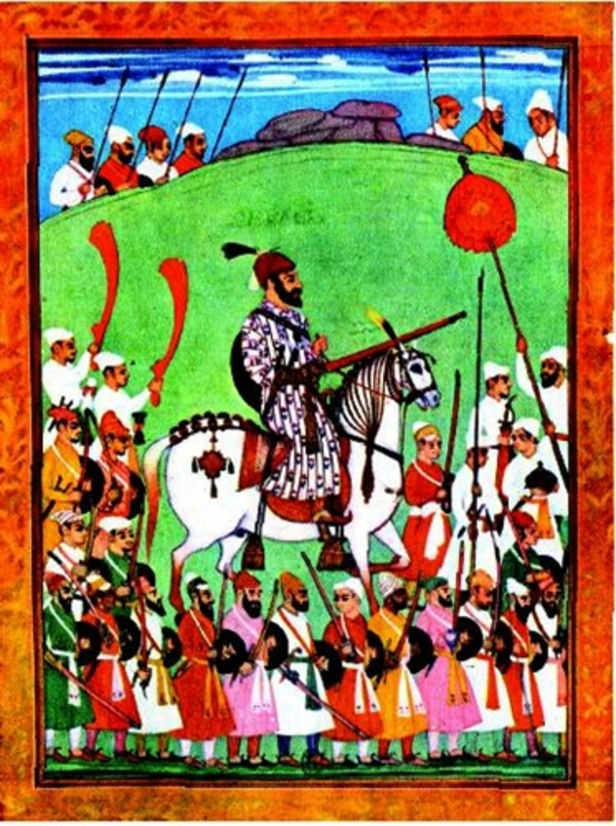 Shivaji with his Muslim soldiers. Painting by Mir Mohammad.