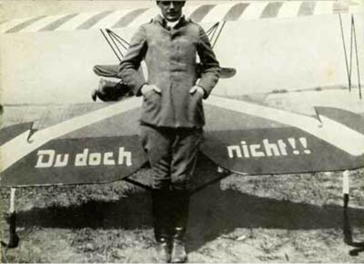 Ernst Udet, in front of the tail of his Du Doch Nicht!! Fokker D-7.
