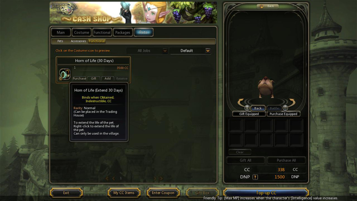 Pet's Functional Tab in the Cash Shop