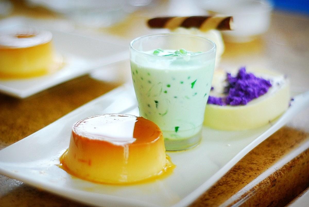 Leche Flan, Buko Pandan, and Maja Blanca with Ube Haleya - Philippine Desserts