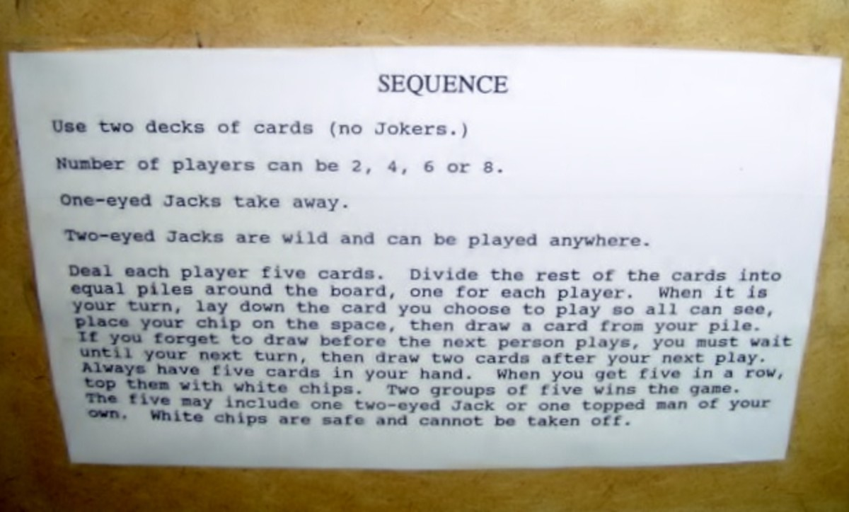 Instructions for Sequence Game