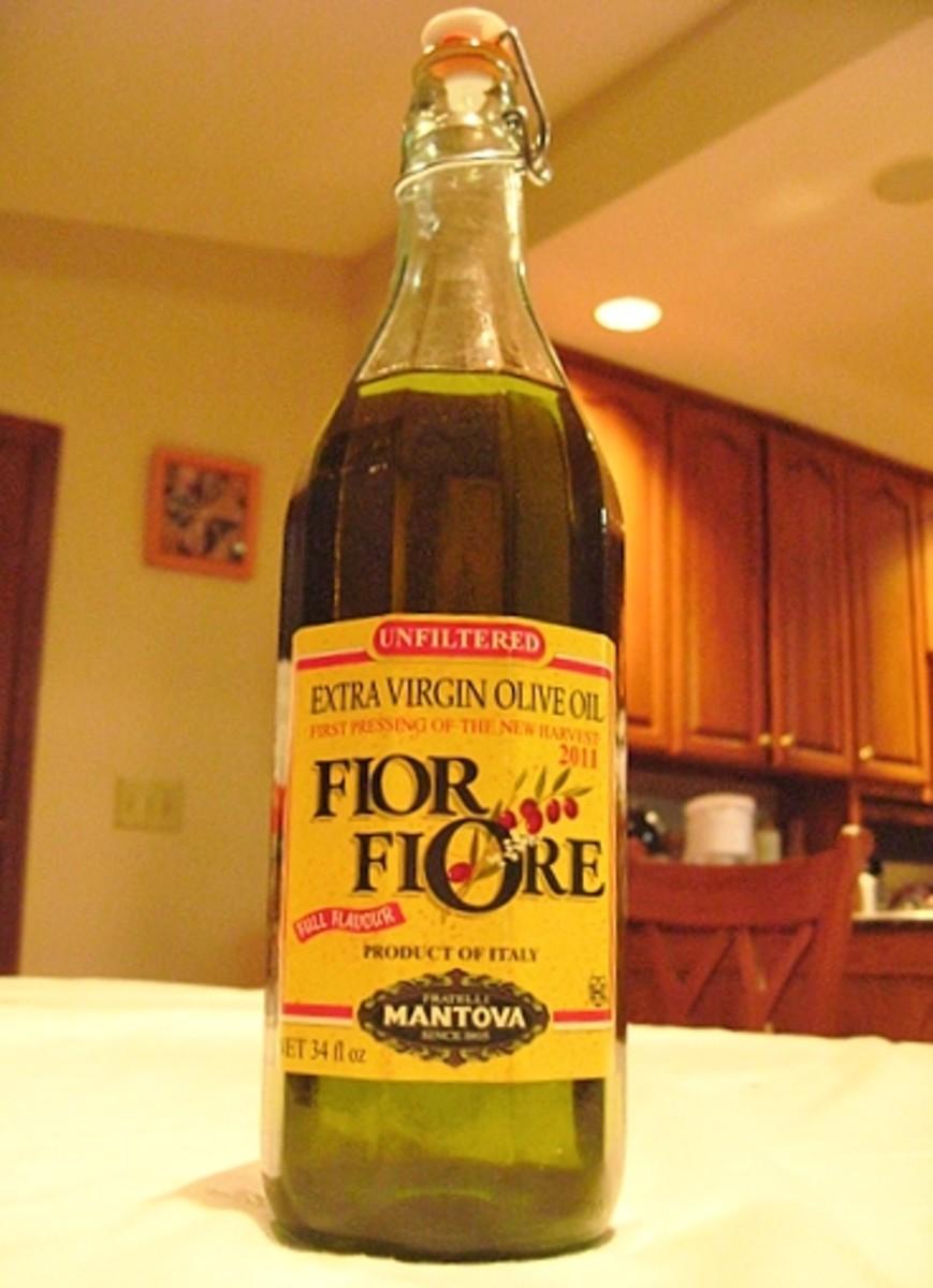 A bottle of good Extra Virgin Olive Oil