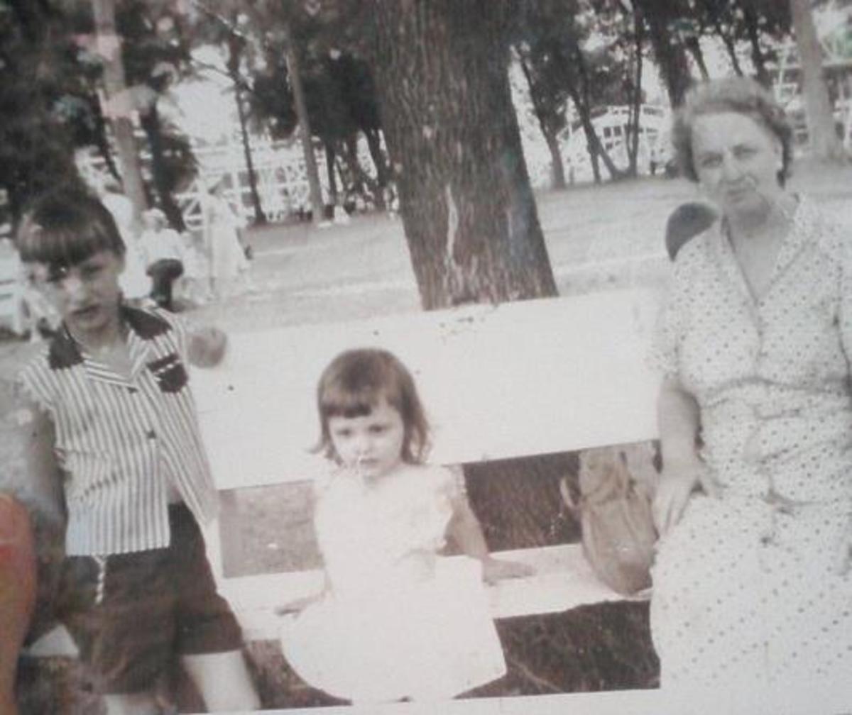 Grandma, sister Kay, and me