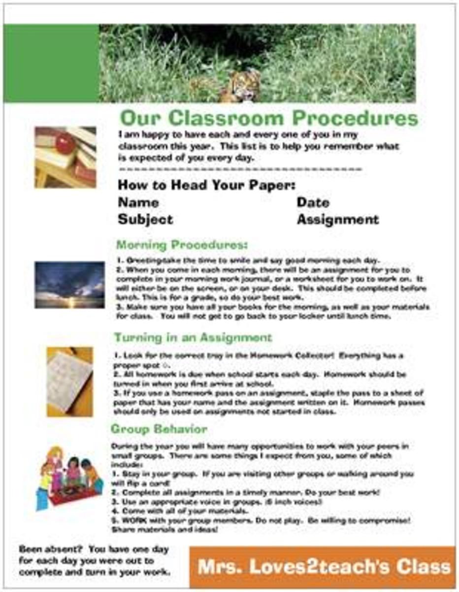 General Classroom Procedures front