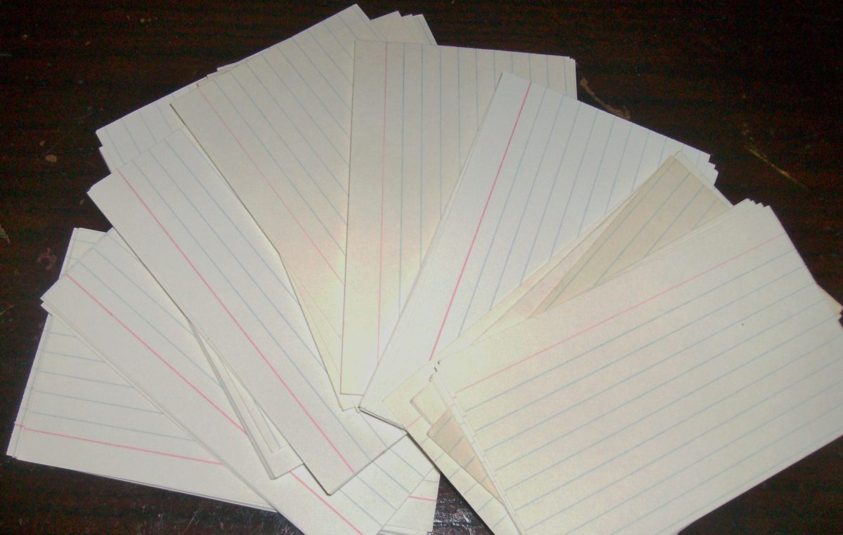 I have filled hundreds of note cards over the years to study for tests.