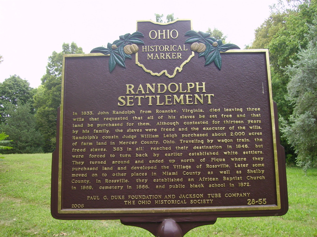Ohio Historical Marker--Randolph Settlement--Front