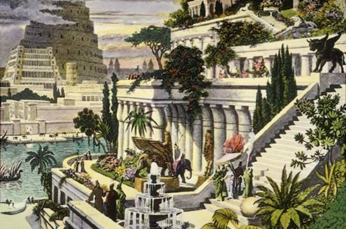 A 19th century interpretation of the Hanging Gardens of Babylon, with the Tower of Babel in the background. Image often found in textbooks.