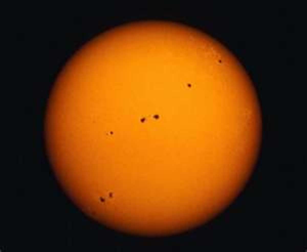 Long shot of sun spots