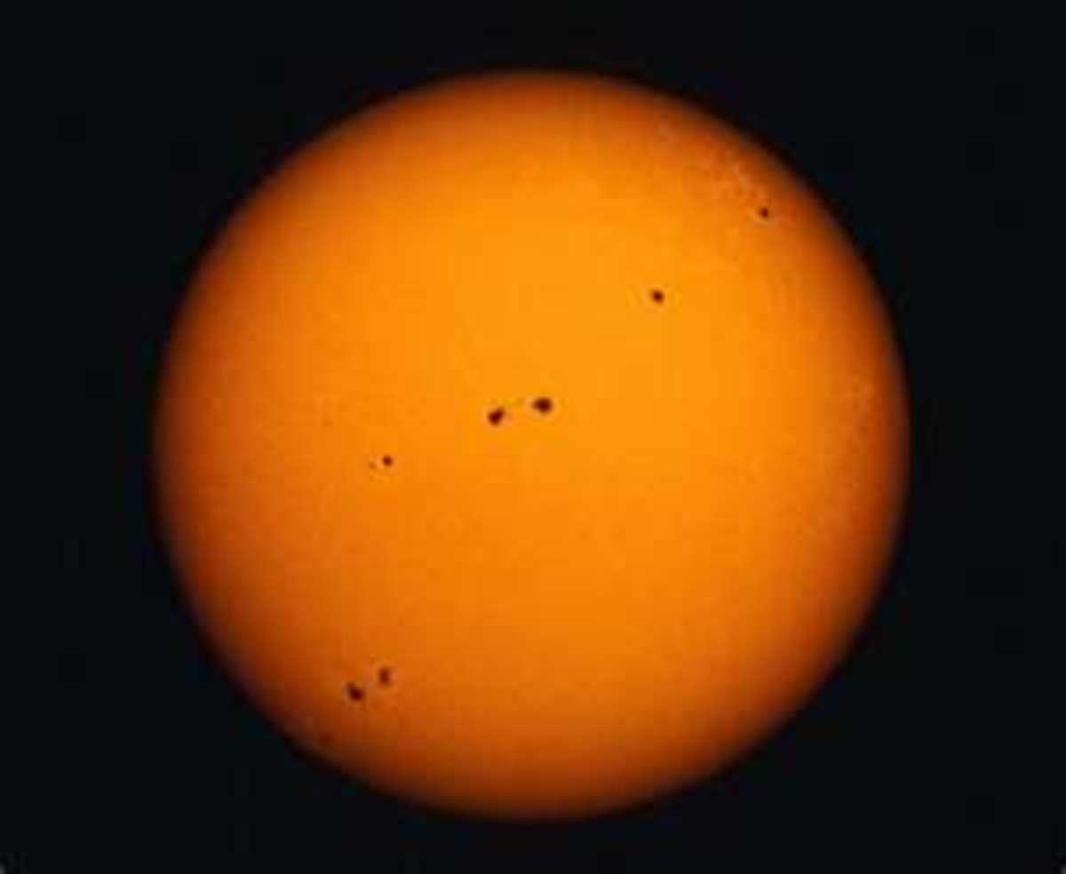 Long shot of sun spots