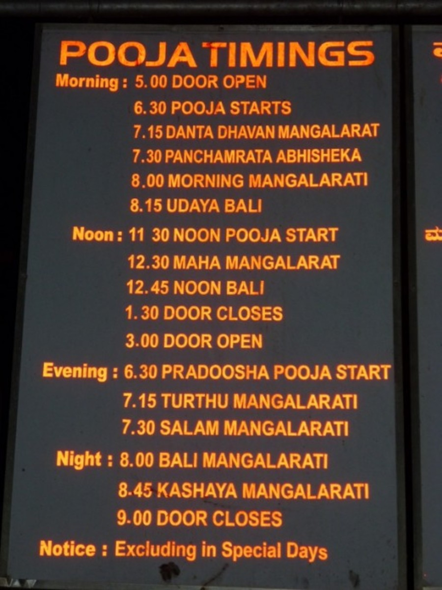 This board clearly displays pooja timings and opening and closing time of the temple