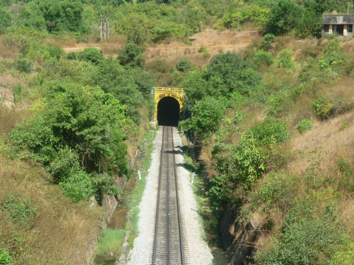 A long tunnel, which starts from Byndoor. But you can't pass through the same if you alight at the staton. It is a long tunnel amidst the beautiful scenery.