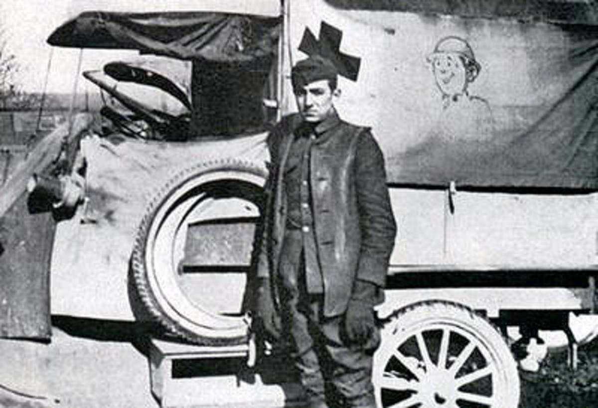 Ambulance Driver Walt Disney During World War I (Note the cartoon on the side of the vehicle)