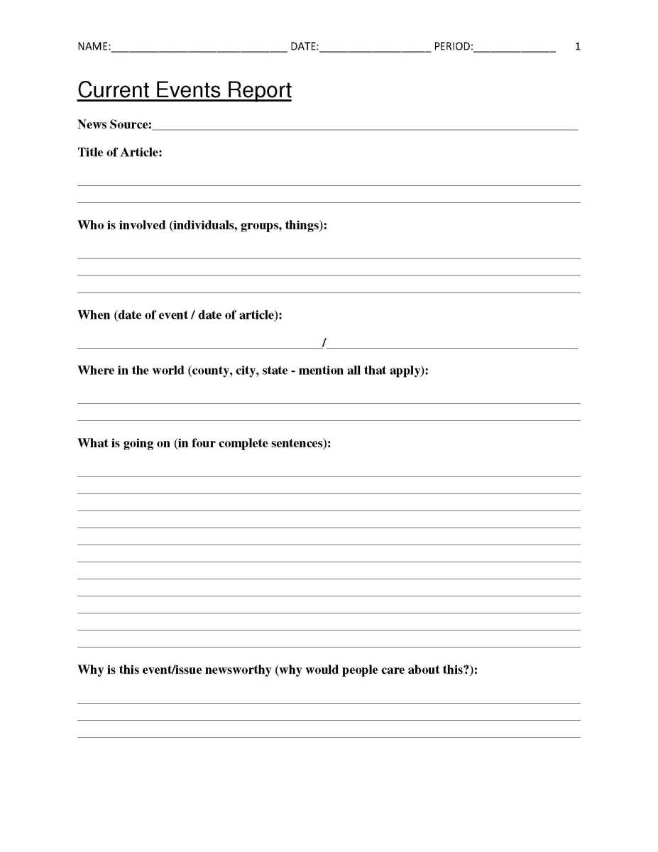 Printables Current Events Worksheet current events worksheet imperialdesignstudio free report for classroom teachers