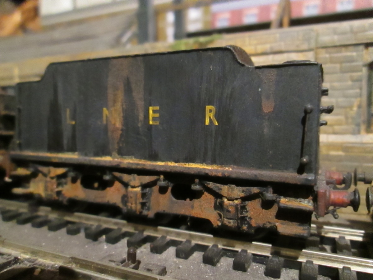 Close-up of one of the tenders in the view above - an etched brass kit-built tender bought loose for 'scenic' purposes and heavily weathered