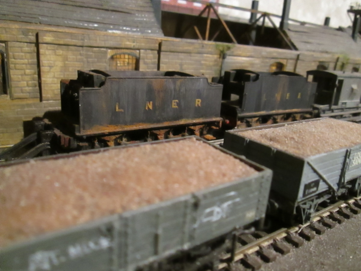 Sand wagons at Ayton Lane mpd with a couple of LNER Group Standard tenders behind in use as slurry tanks - engines may have been written off after bombing in WWII - one from a Bachmann J39 loco, the other etched brass kit-built bought separately